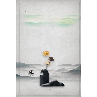 Mẫu poster hoa sen vàng - YTK-99